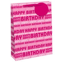 Happy Birthday Pink Glitter Large Gift Bag