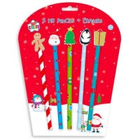 Christmas HB Pencils with Novelty Erasers 5 Pack