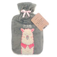 Country Club Hot Water Bottle with Plush Llama Cover 2L