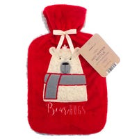 Country Club Hot Water Bottle with Plush Polar Bear Cover 2L