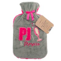 Country Club Hot Water Bottle with Plush Prosecco Cover 2L