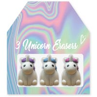 3D Unicorn Erasers Iridescent 3 Pack