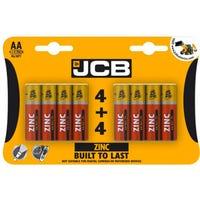 JCB AA/R6 Zinc Batteries 8 Pack