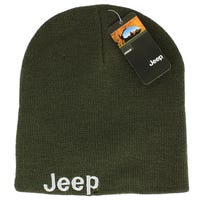 Jeep Mens Embroidered Beanie in Khaki