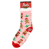 Christmas Fur Lined Ladies Slipper Socks in Gingerbread Design