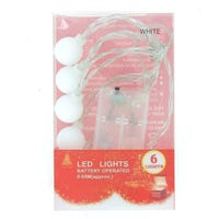 LED White Frosted Ball Lights 6 Pack