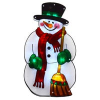 Christmas Silhouette LED Window Light in Snowman