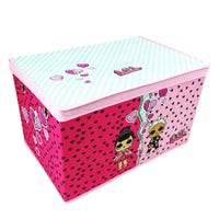 LOL Surprise Foldable Jumbo Storage Box Hot Pink and Light Pink with Stripey Lid