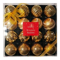 Christmas Luxury Shatterproof Baubles in Gold 16 Pack