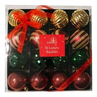 Christmas Luxury Shatterproof Baubles in Mixed Colours 16 Pack