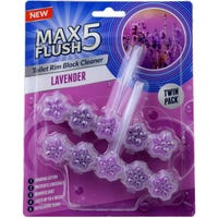 Max Flush 5 Toilet Rim Block Cleaner Lavender Twin Pack