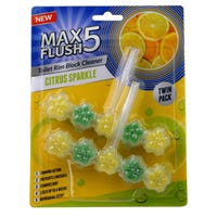 Max Flush 5 Toilet Rim Block Cleaner Citrus Sparkle Twin Pack