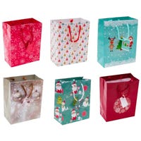 Christmas Paper Gift Bags in Medium 6 Pack