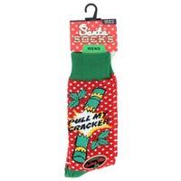 Mens Novelty Christmas Socks Pull My Cracker