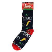 Christmas Fur Lined Mens Slipper Socks in Beer Pun Design