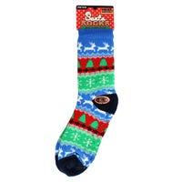 Christmas Fur Lined Mens Slipper Socks in Tree's Design