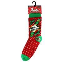 Christmas Fur Lined Mens Slipper Socks in Pull My Cracker Design