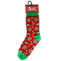 Christmas Fur Lined Mens Slipper Socks in Turkey Design