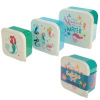 Plastic Lunch Boxes Mermaid 3 Pack