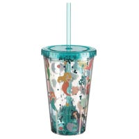 Mermaid Glitter Plastic Cup with Straw