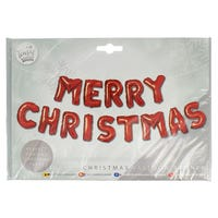 Merry Christmas Balloon Banner in Red