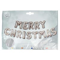 Merry Christmas Balloon Banner in Silver