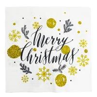 Napkins Merry Christmas White 20 Pack