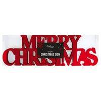 Merry Christmas Glitter Sign Decoration in Red