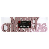 Merry Christmas Glitter Sign Decoration in Rose Gold