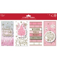 Christmas Card Pink Money Wallet 4 Pack