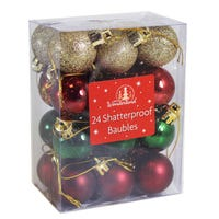 Baubles Shatterproof Traditional Multi Colour 24 Pack