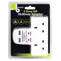 2 Gang USB Multiway Adaptor