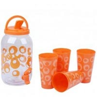 Drinks Dispenser And 4 Cups Orange