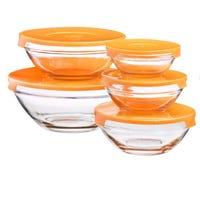 Glass Dish with PVC Lid 5 Pack Orange