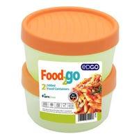 Edgo Food 2 Go 2 x Food Container 500ml Orange