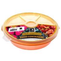 Round Food Server 5 Compartment Orange
