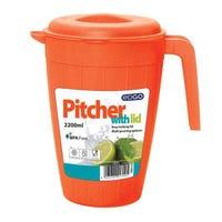 Edgo Orange Pitcher With Lid 2200ml