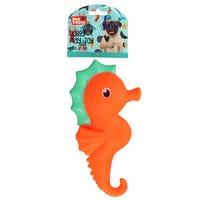 Squeaky Seahorse Dog Toy in Orange