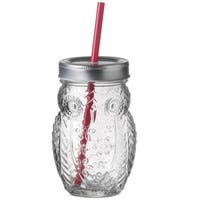 Owl Drinking Jar With Straw 500ml