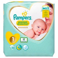 Pampers Premium Protection Nappies Size 1 22 Pack