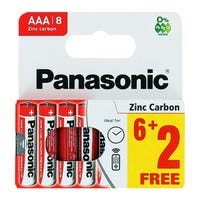 Panasonic AAA Zinc Carbon Batteries 6 Plus 2 Free