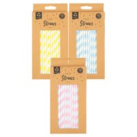 Paper Straws Pastel Colours Assorted 50 Pack