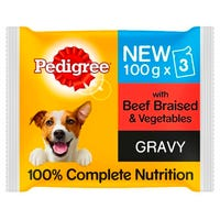 Pedigree Jelly Pouch Beef and Vegetable 3 x 100g