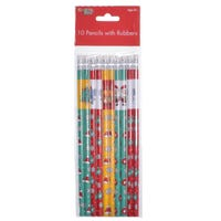 Christmas Pencils with Rubbers 10 Pack Assorted