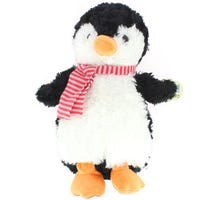 Soft Plush Penguin with Red Scarf Black 37cm