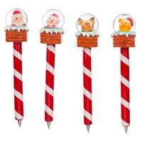 Christmas Snow Globe Chimney Pen Assorted