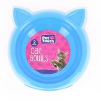 Pet Touch  Plastic Cat Bowls Blue 2pk