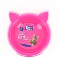 Pet Touch Plastic Cat Bowls Pink 2pk