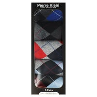 Pierre Klein Mens Socks Gift Box in Argyle Size 6-11 5 Pack