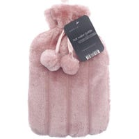 Hot Water Bottle with Fur Cover Pink 2L